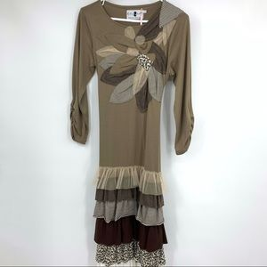 Dainty Jewells Dress Small Neutrals Brown Modest